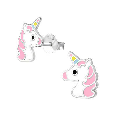 Unicorn Earrings Sterling Silver Fairytale Princess Tiara Pink Ear Studs Women