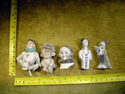 5 x excavated vintage art deco doll head for mixed media altered Art 11750