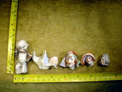 5 x excavated vintage art deco doll head for mixed media altered Art 12027
