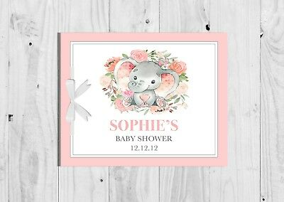 PERSONALISED Pink Floral Elephant, Girl, Baby Shower Guest Book, Keep Sake, Game