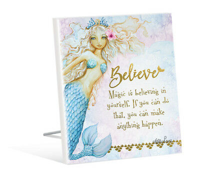 French Country Vintage Inspired Wall Art Wooden MERMAID BELIEVE IN YOURSELF S...