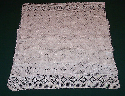 5 VINTAGE HAND CROCHETE PLACEMATS, SPECTACULAR DESIGN, SOFT IVORY, c1930