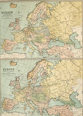 1875 ANTIQUE MAP EUROPE 18th CENTURY OUTBREAK OF FRENCH REVOLUTION ~ NAPOLEON I