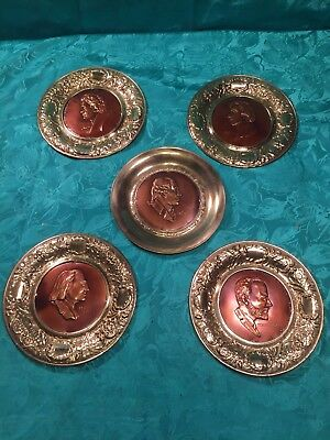 "Lot Of 5 Vintage Brass And Copper Classical Composer 6"" Wall Plates"