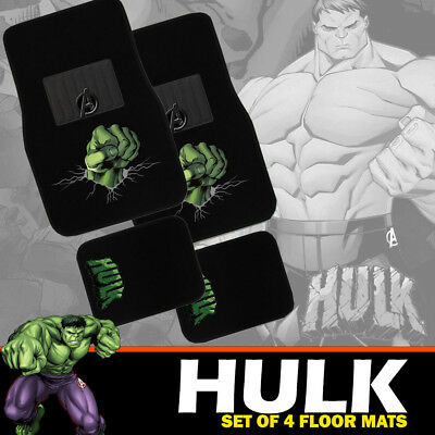 Marvel Avengers HULK Car Floor Mats Set of 4 Carpet in Black EXPRESS FREIGHT
