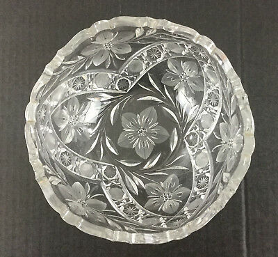 Vintage Glass Crystal Bowl Etched Frosted Scalloped Rim Flowers Cut Glass HEAVY