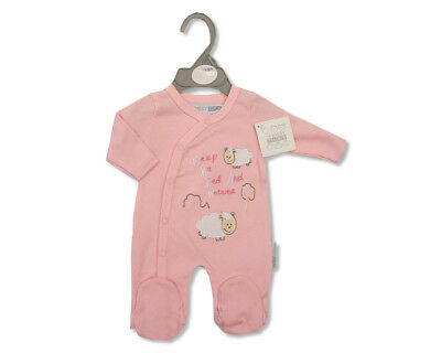Premature Baby Girls Cotton Sleepsuit All in One - Pink - 'Sheep' - 270