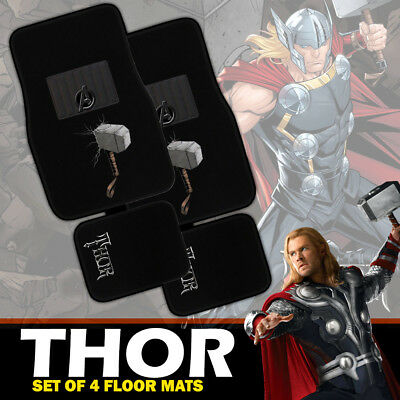 Marvel Avengers THOR Car Floor Mats Set of 4 Carpet in Black EXPRESS