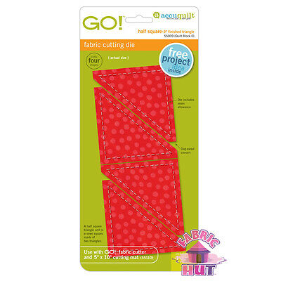 "Accuquilt GO! Fabric Cutting Die 3"" Half Square Triangles Quilting Sewing 55009"