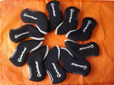 10Pcs Golf Iron Headcovers for Taylormade Club Covers Protector Black Window Set