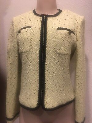 St. John Collection By Marie Gray Yellow Black Blazer Cropped Jacket Sz 6