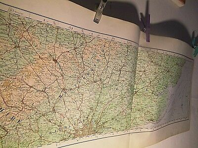 "Chilterns To Essex Coast-Rare Elongated Sectional Os Map 1922 1/4"" Scale-Colour"