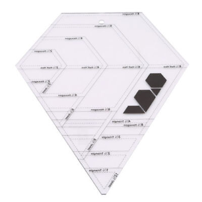 "Patchwork Diamond Shape Template Clear Acrylic 12.52""x9.84"" Quilting Ruler PF"