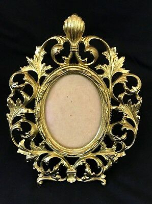 Antique Victorian Ornate Cast Iron Gold Gilded Oval Table Picture Frame XXX Sign