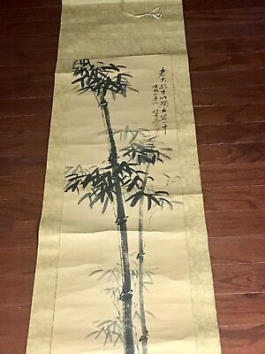 Old Large Chinese Paper Painting Beautiful Bamboo Scroll with Marks