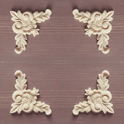 Set Of 4 Shabby Chic Furniture Corners Resin Appliques Mouldings Onlays Q1
