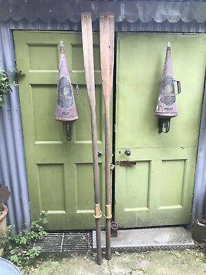 Pair of vintage wooden oars