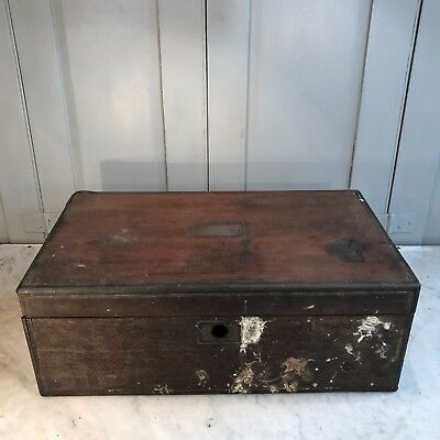 Large antique Victorian mahogany writing box engraved dated 1851