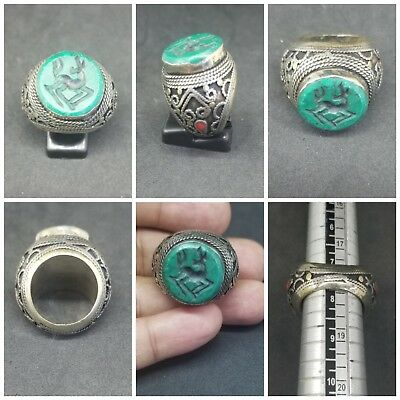 Ancient roman silver ring with Goat curving turquoise stone #7