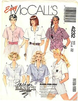 McCall/'s 4232 Misses/' Shirt  *compare @ $8   Sewing Pattern