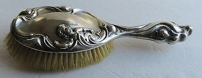 Antique Sterling Silver Hairbrush Art Nouveau Raised Putti