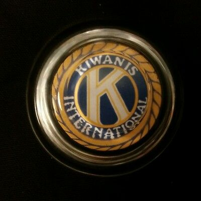 Vintage Style Kiwanis International.. Glass Paperweight .Handcrafted by Artist