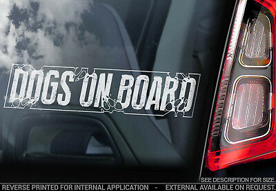 Dogs on Board - Car Window Sticker - Dog GSD Decal Warning in Transit Sign - V01