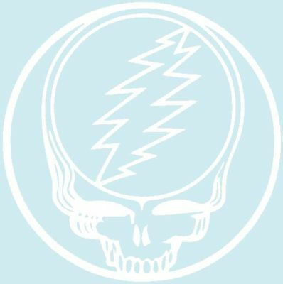 8501 White Grateful Dead Steal Your Face Music Band Rub-on Vinyl Sticker Decal