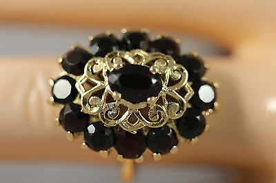 Heavy Italy 18K Yellow Gold Garnet Byzantine Art Deco Bohemian Flower Ring Sz 7
