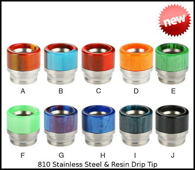 Unique 810 Stainless Steel Resin Drip Tips - PRINCE, MAXO, ELLO, CAPTAIN, T1 & 2
