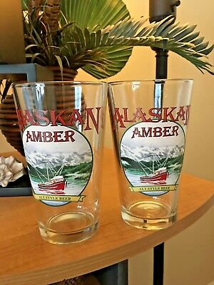 Pair of (2) Alaskan Amber Beer Glasses