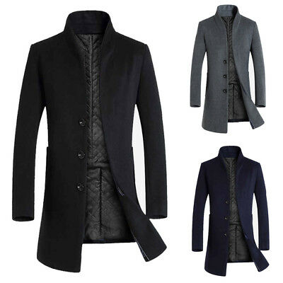 Men's Long Collar Coat Wool Trench Single Breasted Slim Fit Overcoat Stand