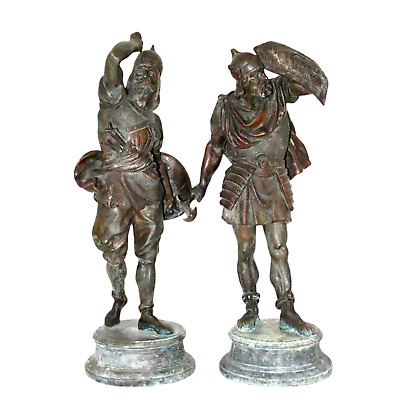 Pair of Late 19th Century Spelter Warrior Figures ( 1800s )