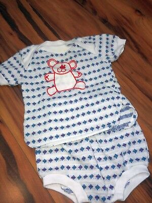Vintage 2Pc Outfit Summer Set Top Bottom White Embroidered Red Bear Doe Spun 12m
