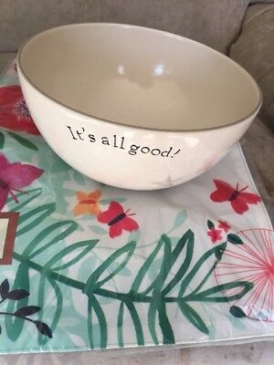 """POTTERY by Kathy Phillips/Primitive/Word Expressions Large Bowl 10"""" Across"""