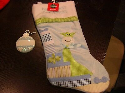 New Baby'S 1St Christmas Stocking Giraffe W/  Personal Ornament Set Blue Or Pink