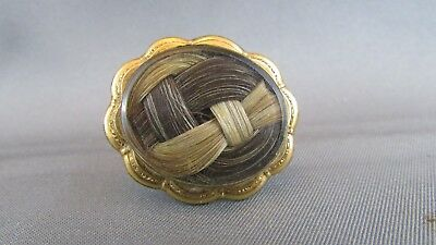 ANTIQUE GOLD VICTORIAN 2 People's Hair Mourning Brooch Beveled Glass  12K GF