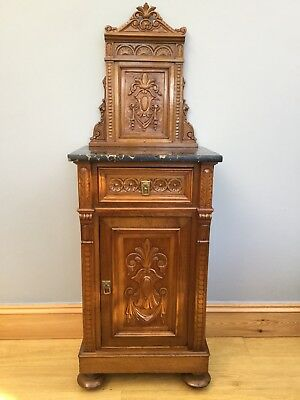 Antique Victorian Cupboard Walnut Carved Marble Large Pot Bedside Old Vintage