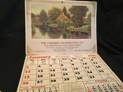 vintage 1941 Farmer's Co-op Calendar Defiance Ohio filled with recipes, extras
