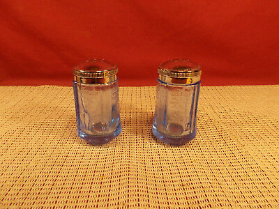 Indiana Glass Recollection Blue Madrid Pattern Salt & Pepper Set