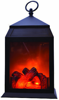 "LED Fireplace Lantern – 12"" Decorative Portable Light Battery Operated Fake Fire"
