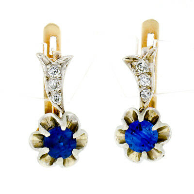2.4ct Round Cut Drop Dongle Leverback Halo Designer Earrings 14k Two-Tone Gold