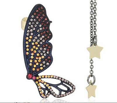 Betsey Johnson Non Matching Pave Butterfly Ear Cuff Drop Earrings NWT B12697-E01