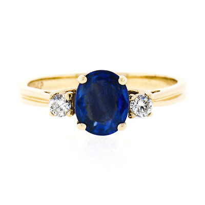 14K Yellow Gold 1.08ctw Prong Oval Sapphire & Diamond 3 Stone Engagement Ring
