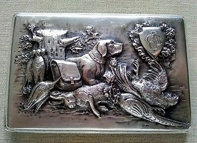 Antique Russian silver cigarette case hunting scene, late 19th century