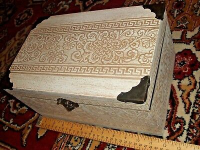 """WOODEN CHEST BOX 12"""" off-white light brown Asian hinged with lock, metal corners"""