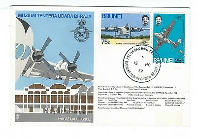 Brunei colorful stamps on1972 cacheted FDC - airpalne