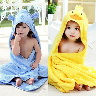 Large Soft Cotton Hooded Baby Boy Girl Bath Towel Wrap Toddler Kids Bathrobe
