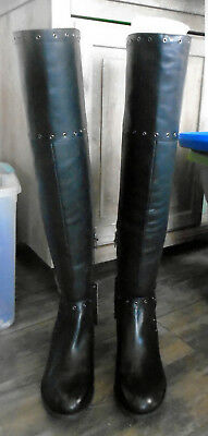 edaed78075df Vince Camuto Bestan Black Silky Leather 9 Wide Calf Studded Over The Knee  Boots