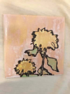 Vtg Mid Century Modern Abstract Tile Art Floral Yellow Mcm
